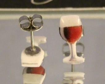 Wine Glass Stud Earrings - Red Wine - Bartender Jewelry