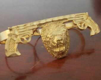 3 Fingers Gun and Lion Bling Ring