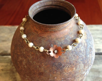 Vintage and delicate little flower and rosary bead bracelet
