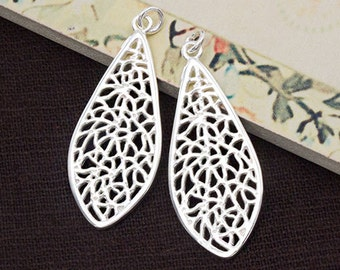 2 of 925 Sterling Silver Filigree Teardrop Pendants 16x35 mm. :th2509