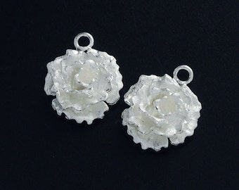 2 of 925 Sterling Silver Flower Charms 12.5mm. Satin Finished  :tk0065