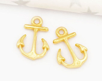 2 of 925 Sterling Silver 24k Gold Vermeil Style  Anchor Charms  11x15m. :vm0705