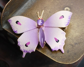 Vintage brass Butterfly brooch with enamel and glass stones. (IL)