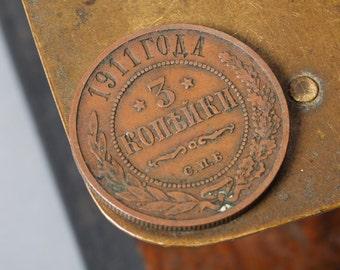 Imperial Russian copper three kopek coin, 1911. kopecks, copecks, kopeyka