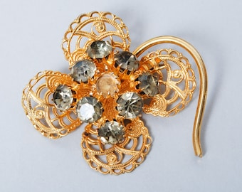 Vintage brass filigree brooch,  with glass rhinestones lost stone