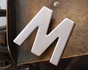 Vintage brass brooch, badge pin, Letter M or W