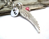 Personalized Angel Wing Necklace - Choose Initial and Birthstone