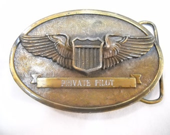 Vintage Private Pilot US AirForce Belt Buckle By The Buckle Connection 1983 - Military Belt Buckle - Brass Belt Buckle