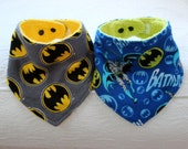 Batman Baby Bandana Boy Drool Bib Set of 2 with Blue Batman Flannel and Gray Batman Flannel with a Terry Cloth Lining for Teething Baby Boy