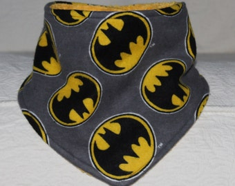 Batman Baby Bandana Boy Drool Bib with Batman Yellow Black and Gray Flannel and a Terry Cloth Lining for Teething Baby Boy