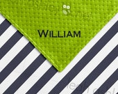 Baby Blanket - Navy Stripe COTTON, Lime Green MINKY Dot - Collin - BB2