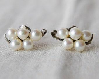 Vintage Pearl & Sterling Silver Earrings - B4