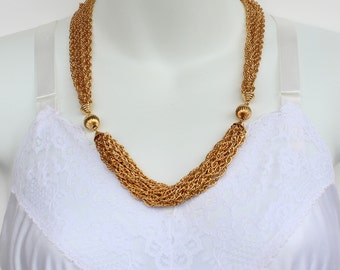 Vintage 1991 Avon Golden Chains Gold Tone Wheat Chain Multi Strand Goldtone Fluted Beaded Traditional Necklace in Original Box NIB