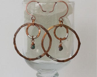 Hand Hammered and Textured Copper Double Ring Hoop Earrings