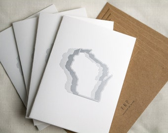 Four (4) Wisconsin Cookie Cutter Letterpress Cards