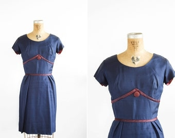 SALE 1950s Dress - 50s Dress - Navy Blue Silk Cocktail Dress