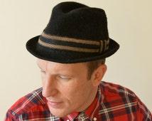 VINTAGE 1970s Hat Fedora Wool Black Felted Formal Hat