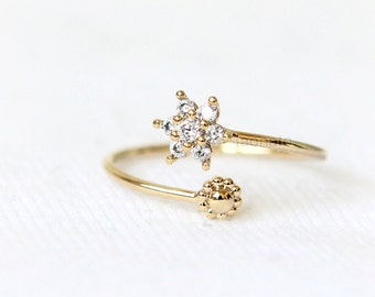 Tiny Snowflake Ring / CZ snowflake, adjustable ring, gold, silver, pink gold