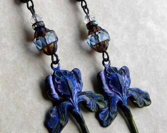 Iris Earrings, Purple Iris Earrings. Spring Iris, Bearded Iris. Lavender Iris Earrings