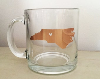 Custom North Carolina Coffee Mug - Gold Foil Mug - Heart in Triad - Winston Salem, NC