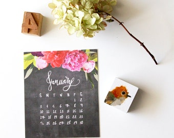 Desk Calendar 2018, Desktop Calendar with Stand, 2018 Desk Calendar, Calendar for 2018, CD Case Calendar, Floral Chalkboard Calendar