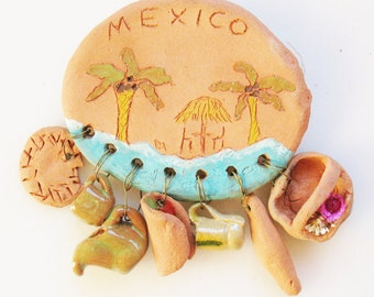 VTG Small Hand Painted Clay Terra Cotta Mexico Brooch Pin w/ Little Charms Restaurant Culinary Hispanic Southwest Tonala Pottery Jewelry