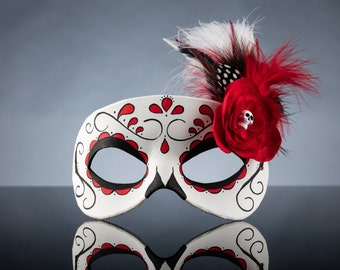 Red Day of the Dead Swirl, Skull, and Flower Leather Masquerade Mask