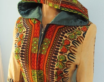 60s Vintage Hooded Hippie Print Jacket med/large