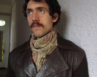 60's Vintage Men's Italian Leather Wool Knit Jacket med.
