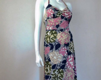 70's Vintage Hippie Halter Dress Cherry Blossoms sm/med.