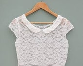 Ivory peter pan collar lace top