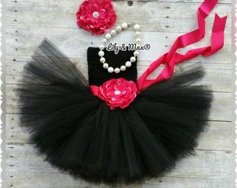 black dress, Black and hotpink sash  tutu dress,  black tutu dress, Black Holiday dress,black and hot pink tutu
