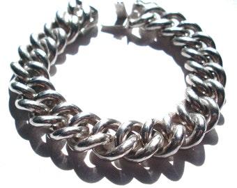 Vintage Heavy Solid Sterling Silver 925 Chain Link Bracelet