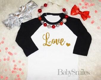 Love Gold Glitter Heart Valentine Shirt Baby Shirt Girl Shirt Adult Shirt Kids Shirt Raglan Glitter Shirt Valentine's Day Shirt Love Shirt