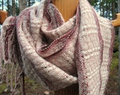 Candy Cane Pink, Burgundy and White Handwoven Alpaca, Silk, Merino and Cashmere Scarf