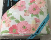 """Vintage Twin Bed Sheet by Penn Prest Fashion Manor - NEW in package with Tag! No-Iron Muslin Pink and Green Floral Sixties 72"""" x 104"""""""