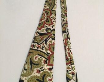 Vintage 1940s Hand Printed Silk Tie