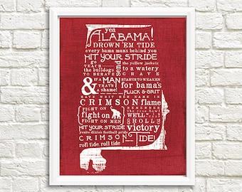 Yea Alabama Bama Crimson Tide State Fight Song 8x10 Printable Wall Decor