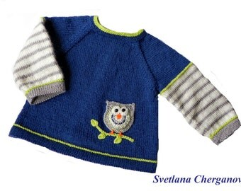 Knitted Baby Sweater, Newborn Sweater, Baby Blue Sweater, Newborn Clothes,  Owl Baby Sweater, Baby Boys' Clothing,  Woolen Baby Sweater