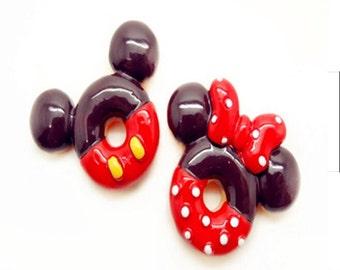 10 pcs of Big resin mouse donut cabochon flat back 2style