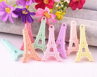 10 pcs of Resin Eiffel Tower Cabochon Charms Crafts 40x22mm Mix 8colors