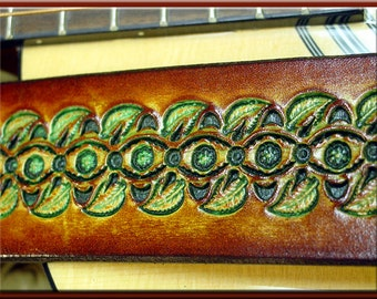 LEAF GEO #2 Design • A Beautifully Hand Tooled, Hand Crafted Leather Guitar Strap with Nature in mind.