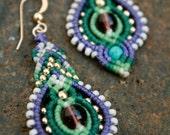 Purple Earrings/ beaded earrings/ long earrings/ boho earrings