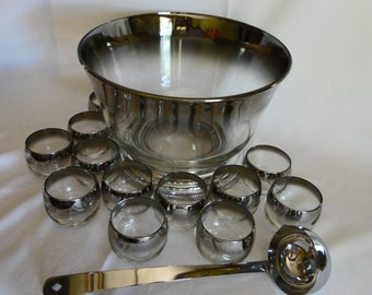 Silver Ombre Glass Punch Bowl with 12 Roly Poly Glasses and Serving Ladle