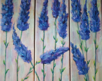 Original painting flowers - lavender floral - tryptic flower - garden field purple - fine art canvas - wall art home decor 12x12