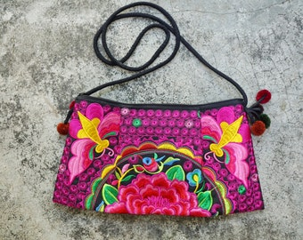 Vintage Unique  Hmong  clutch Style Crossbody Handmade Tote Embroidered Bags from Thailand