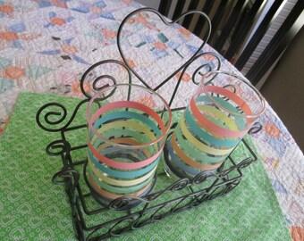 Vintage Green Wire Drink Holder