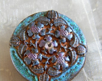 Pretty Floral Medallion Polymer Clay Decoupage Brooch