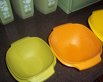 Three Vintage Tupperware Servalier Bowls with the one touch accordian lid in Harvest Colors