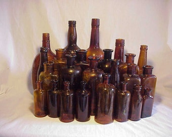 c1890-1950 Group of 24 Cork Top Mixed Amber Glass Medicine & Beverage Bottles, Great for WEDDING Decor No. 6